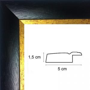 Cadre noir mat bord doré