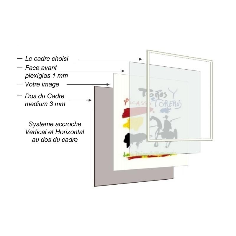 cadre bois plat rouge avec verre et dos sur cadres et. Black Bedroom Furniture Sets. Home Design Ideas