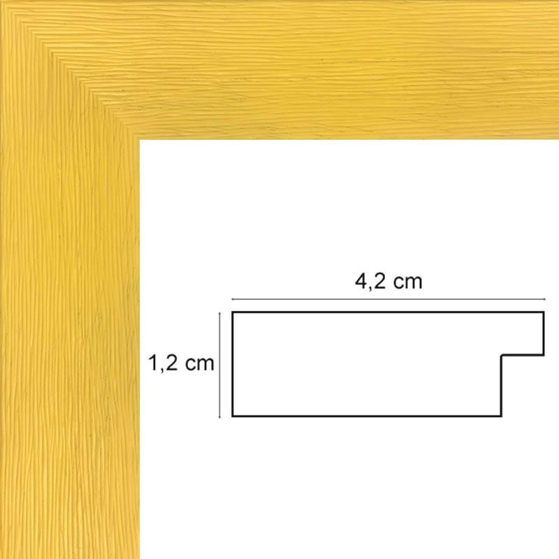 encadrement plat stri jaune sur mesure avec verre et dos. Black Bedroom Furniture Sets. Home Design Ideas