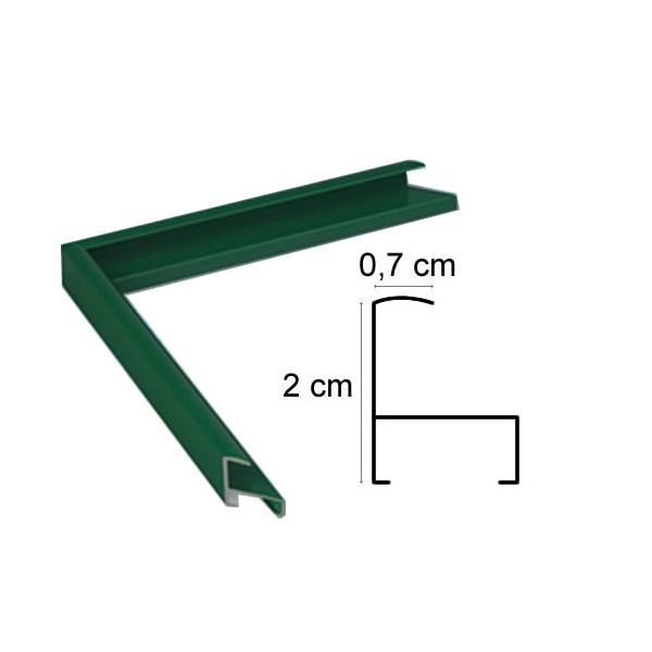 cadre aluminium vert sur mesure avec plexiglas et dos sur