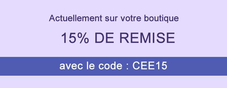 15% de remise avec le code CEE15